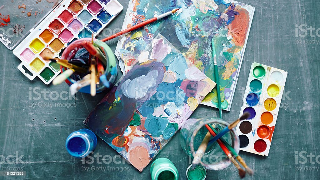 Palettes for drawing stock photo