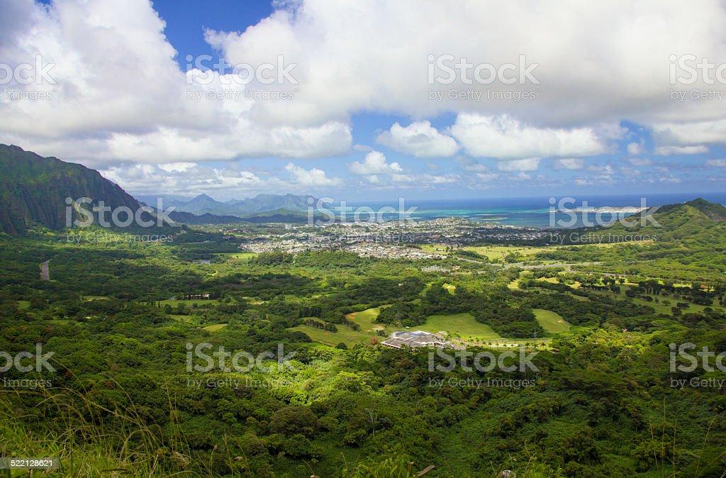 Pali Lookout Oahu Hawaii stock photo
