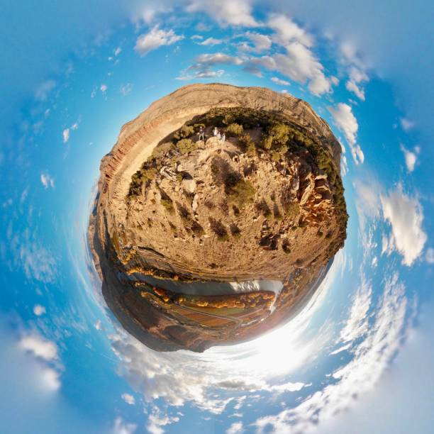 Palisade Rim Trail, Palisade Colorado, Tiny Planet stock photo