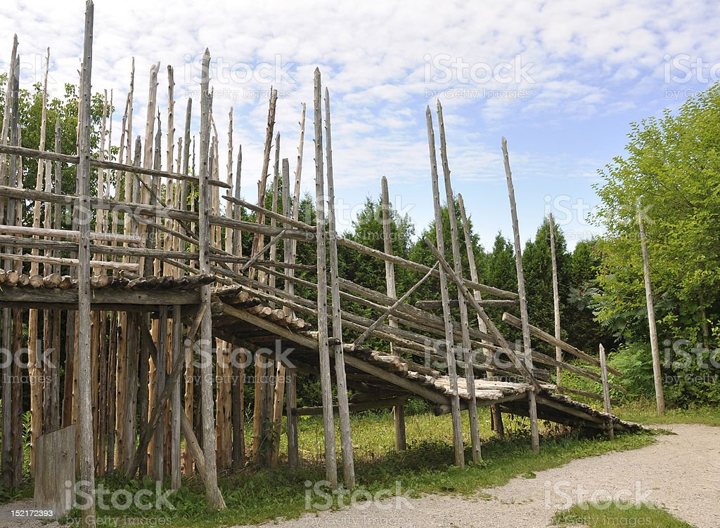 Palisades at the Iroquoian village stock photo