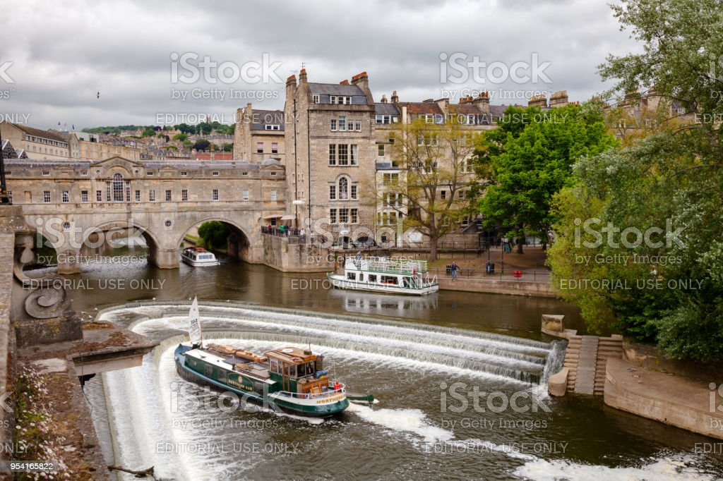 Palladian Pulteney Bridge and the weir at Bath Somerset South West England UK stock photo