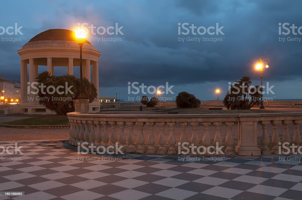 Palladian temple in the night stock photo