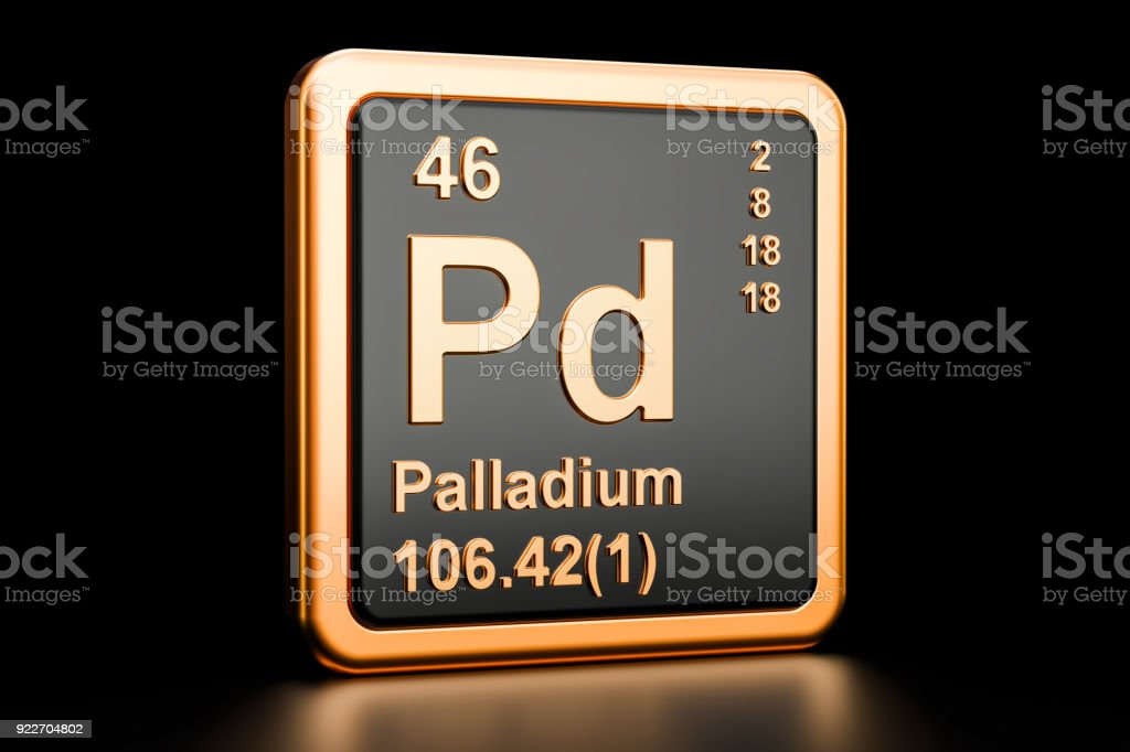 Palladium Pd Chemical Element 3d Rendering Isolated On Black