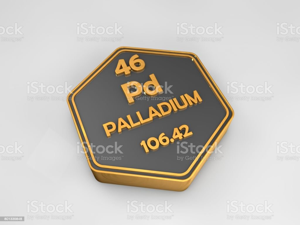 palladium - Pd - chemical element periodic table hexagonal shape 3d render stock photo