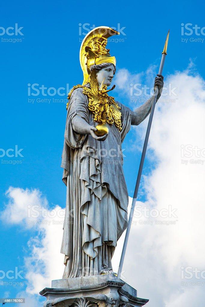 Pallas Athena statue in front of Austrian Parliament, Vienna, Austria stock photo