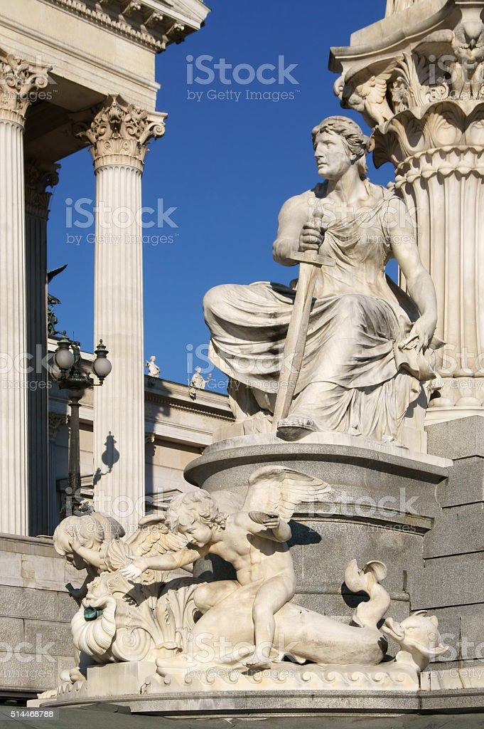 Pallas Athene Fountain (1902) in front of parliament (detail) stock photo