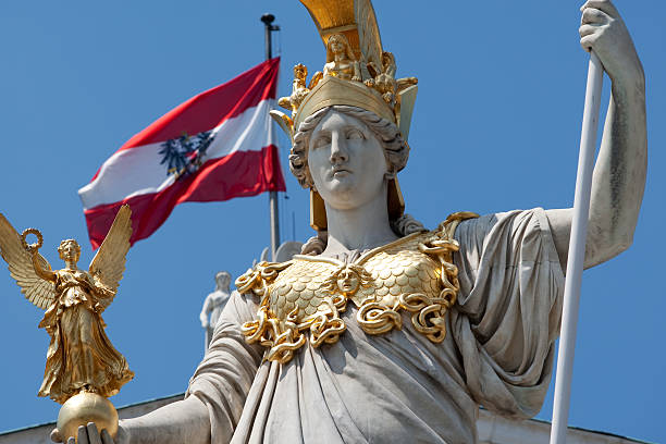 Pallas Athene in front of austrian parliament stock photo