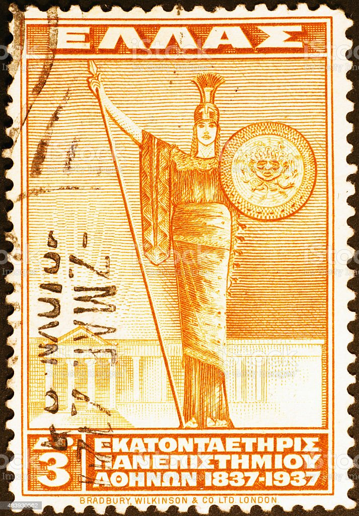 Pallas Athene on old greek postage stamp stock photo