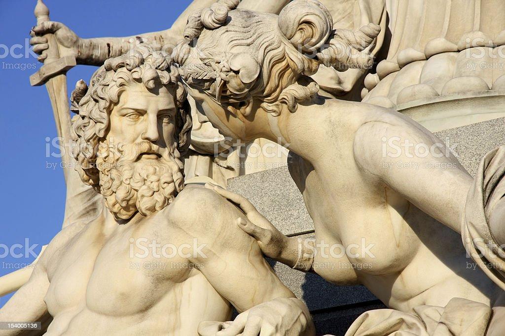Pallas-Athena-Brunnen Fountain of the Austrian Parliament in Vienna, Austria stock photo