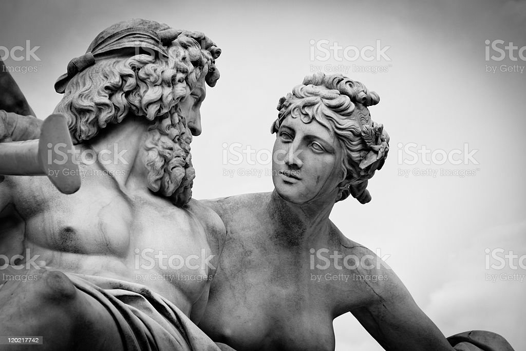 Pallas-Athene Fountain, Vienna - B&W stock photo
