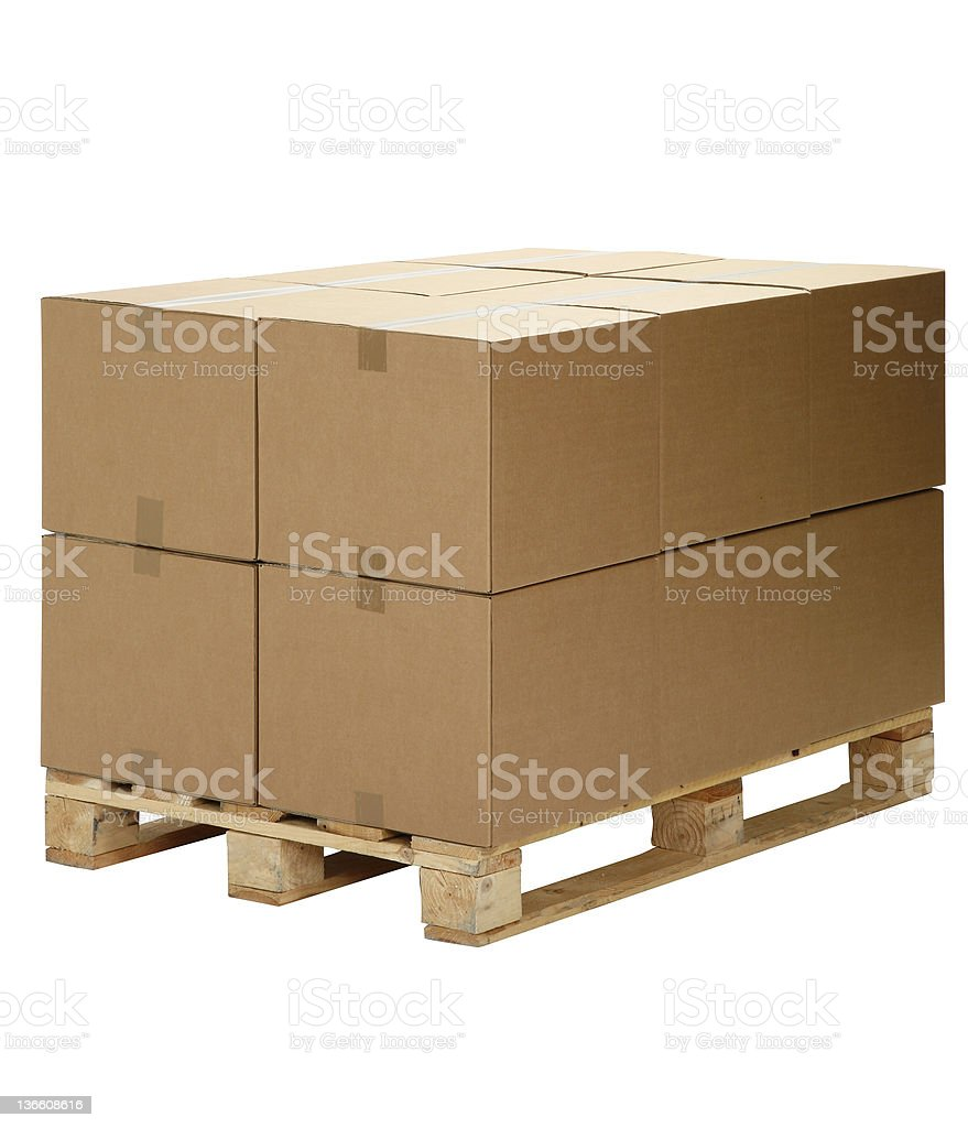 pallet cardboard boxes with Clipping path royalty-free stock photo