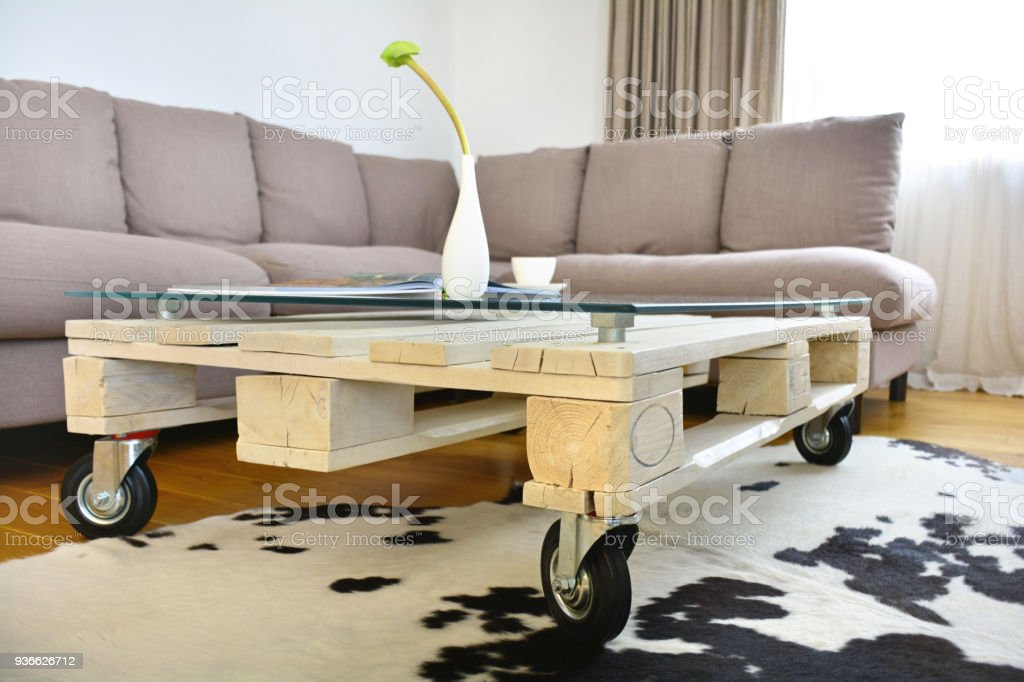 Pallet Coffee Table In Modern Living Room Stock Photo Download Image Now Istock