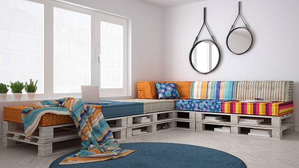 DIY pallet couch sofa, scandinavian white living, interior desig stock photo