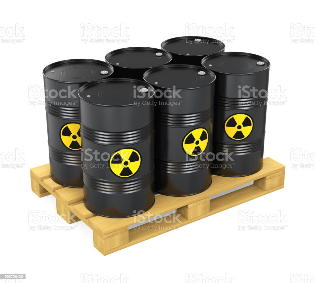 Pallet of Radioactive Barrels Isolated stock photo