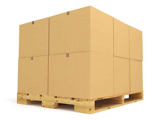 Pallet remplies de grandes boîtes en carton - Photo