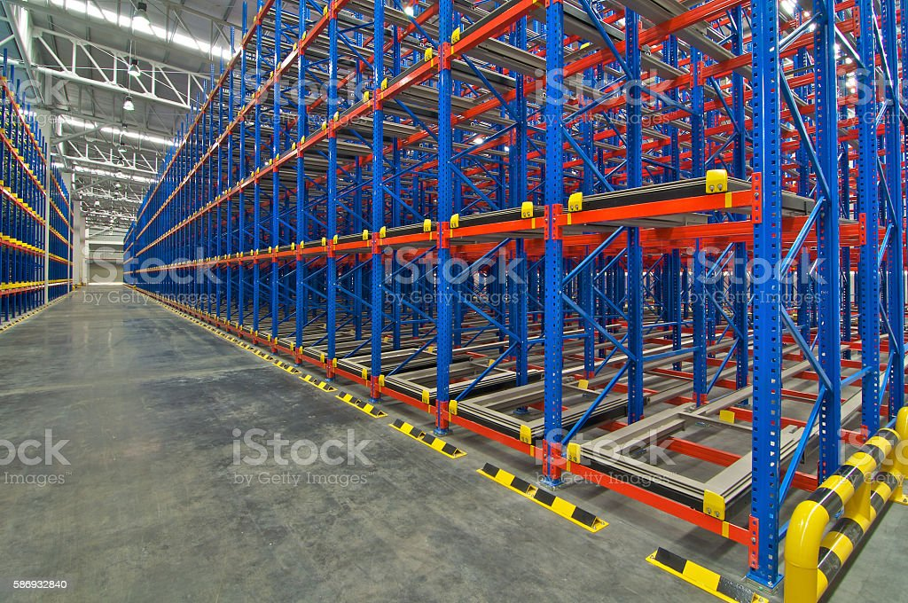 Pallet storage racking system for storage distribution center stock photo