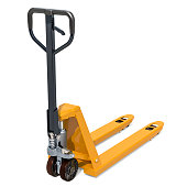 Pallet truck. 3D rendering isolated on white background