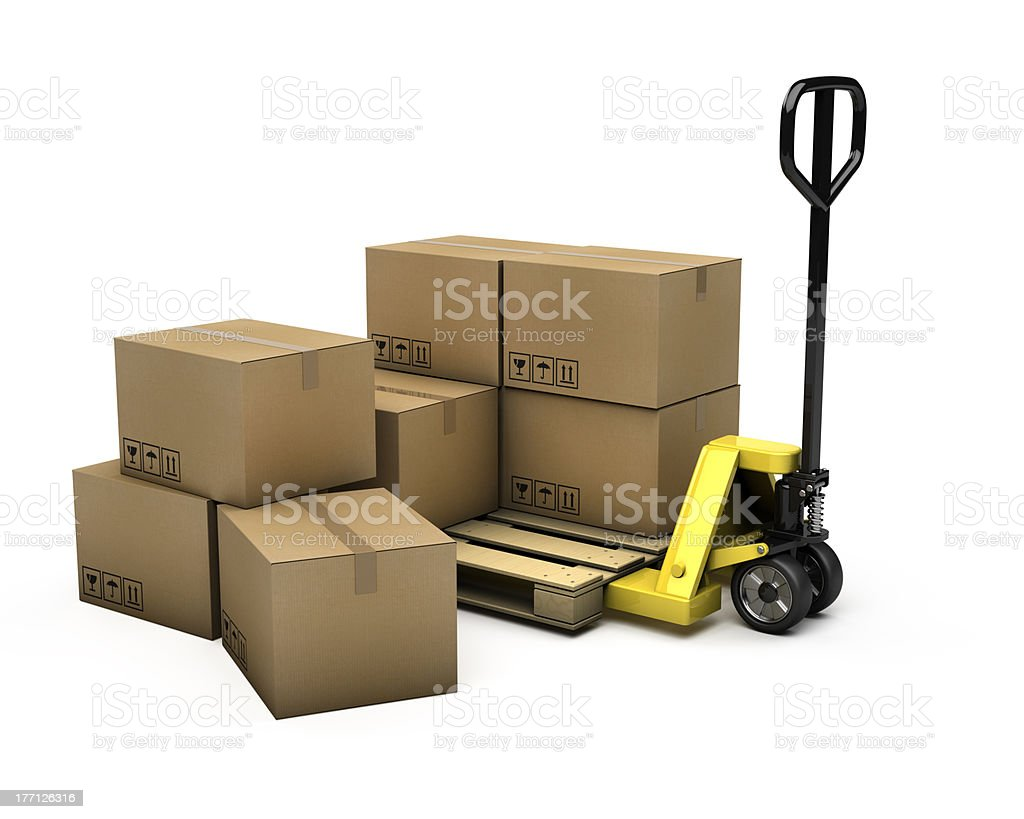 Pallet Truck and boxes stock photo