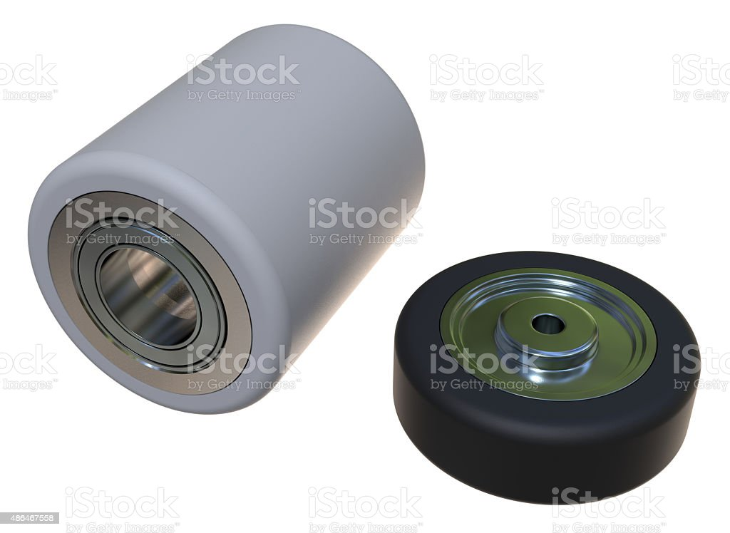 Pallet truck rollers stock photo