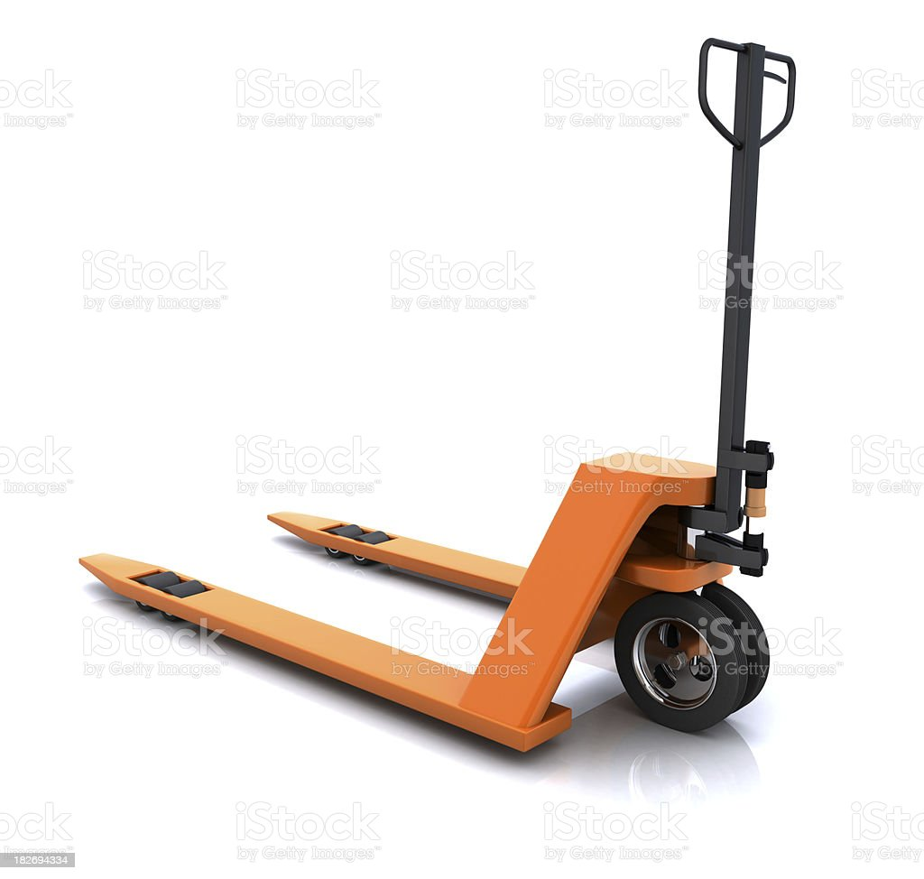 A pallet truck used to pick up boxes and crates stock photo