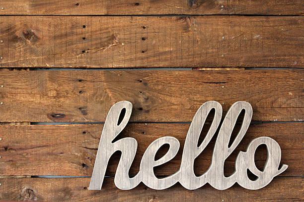pallet wand dekor - hello stock-fotos und bilder