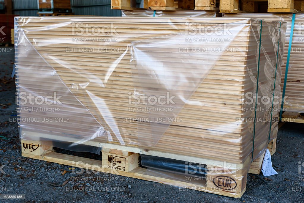Pallet with boards stock photo