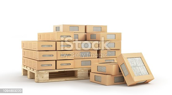 istock Pallet with ceramic tiles isolation on a white. 3d illustration 1094853220