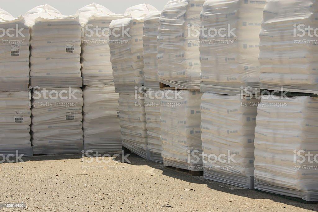 Pallets of sea salt royalty-free stock photo