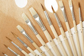 Wooden pallett and brushes
