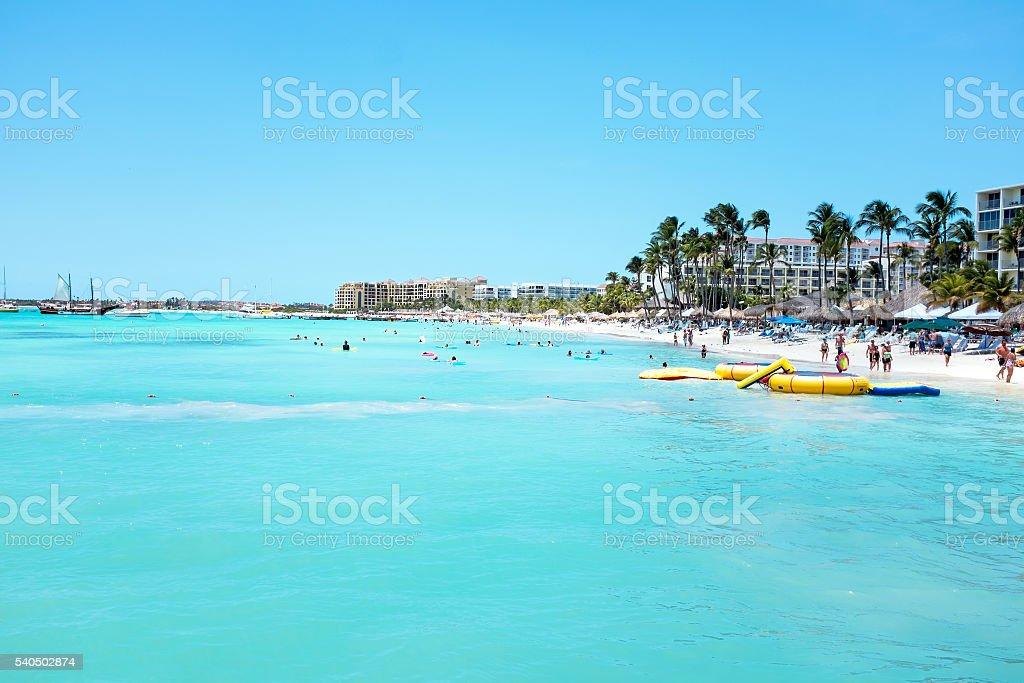 Palmenstrand In Aruba Insel In Der Karibik Stock Fotografie Und Mehr