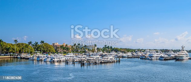 Yachts moored at the Palm Beach Docks, Florida.