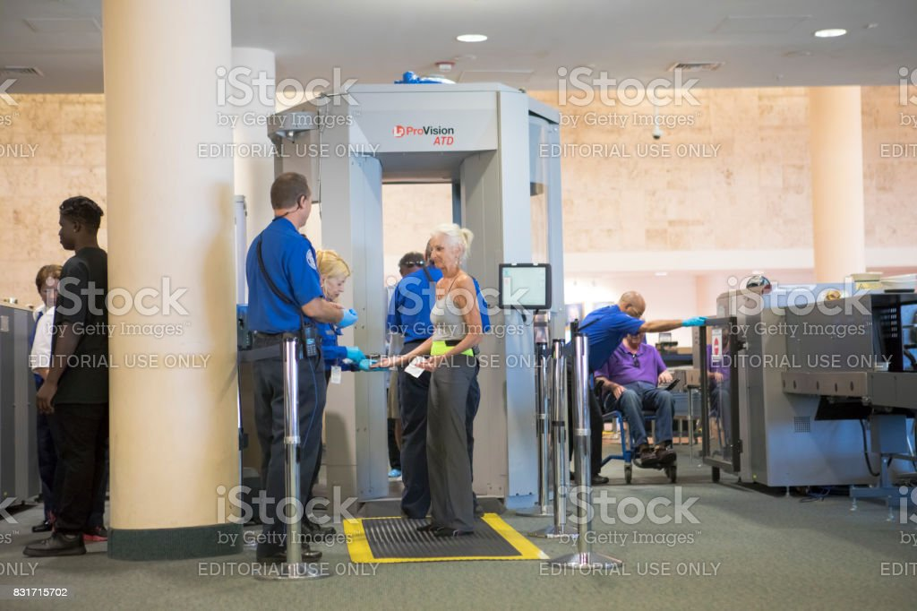 Palm Beach International Airport TSA security check point stock photo