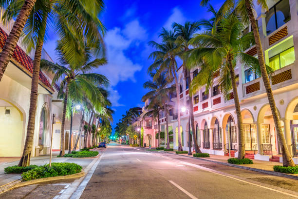 Palm Beach on Worth Ave stock photo