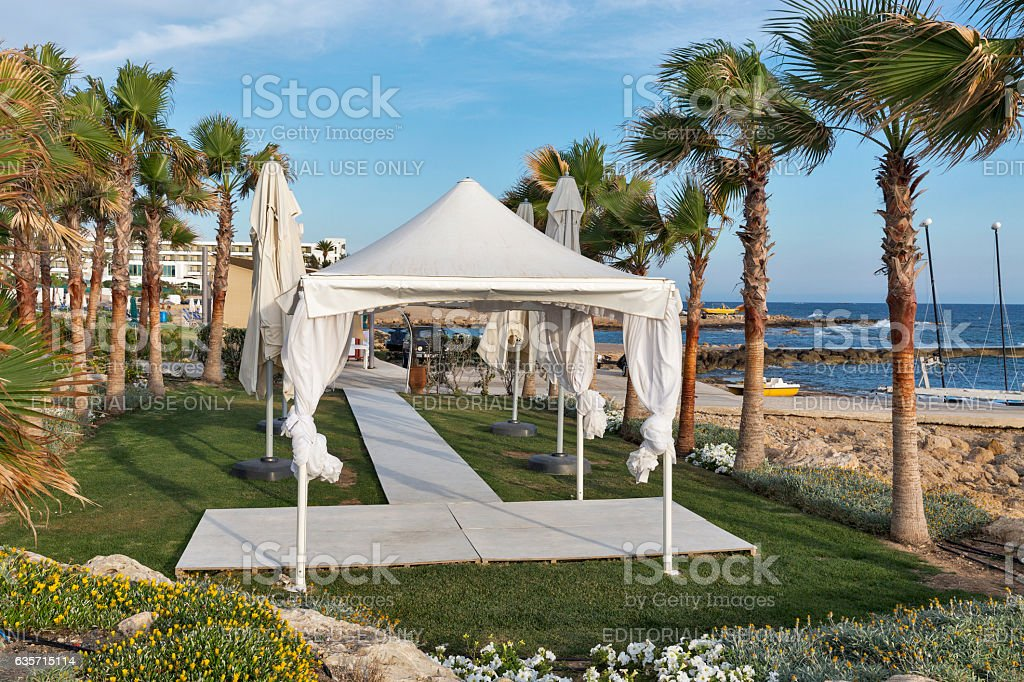 Palm beach pavilion for celebrations in Cyprus. royalty-free stock photo