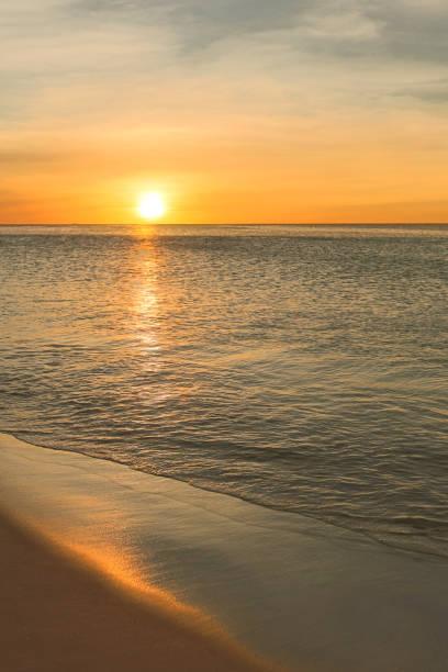 Palm Beach Sunset, Aruba stock photo