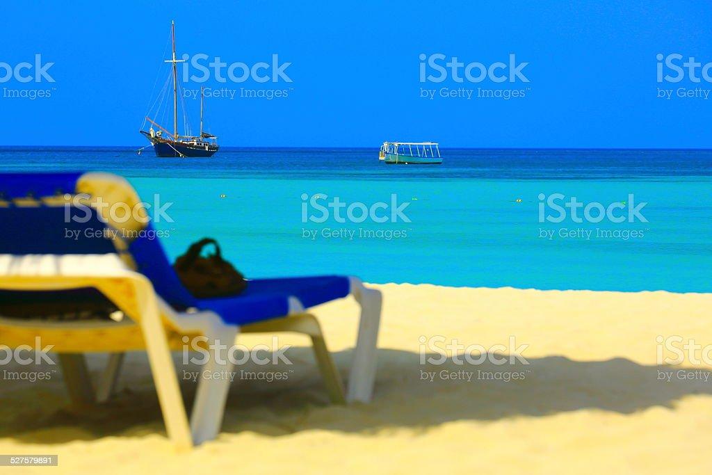 Palm beach with Ship and boat, Aruba - Caribbean Sea stock photo