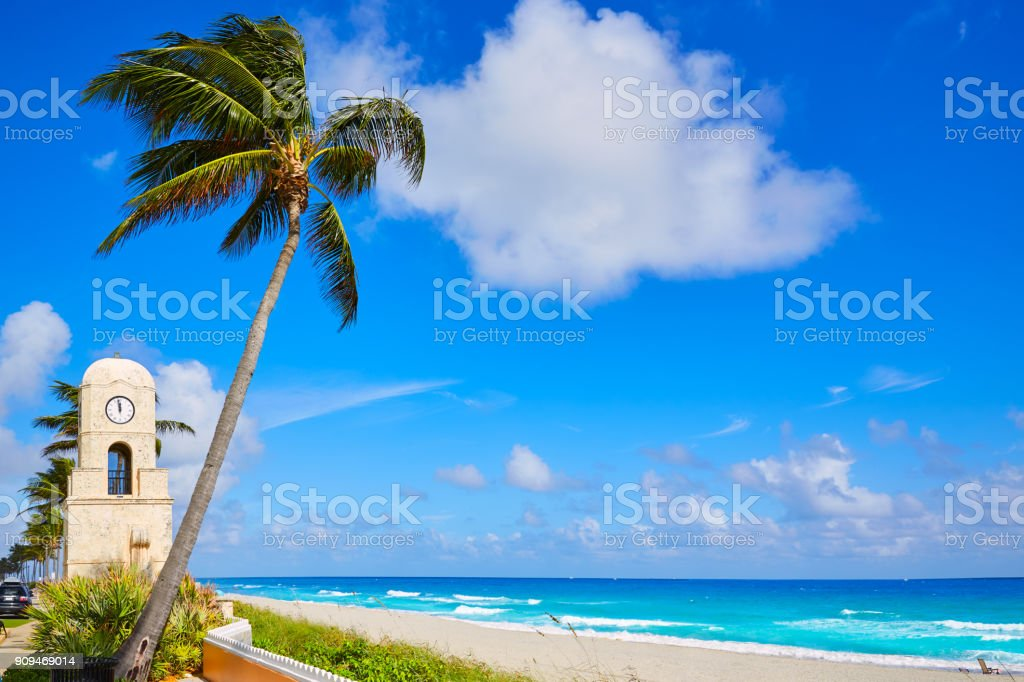 Palm Beach Worth Avenue clock tower Florida stock photo