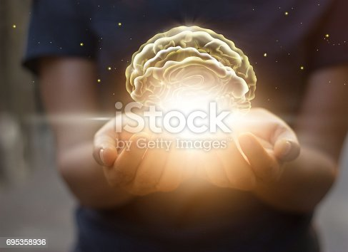 istock Palm care and protect virtual brain, innovative technology in science and medical concept 695358936