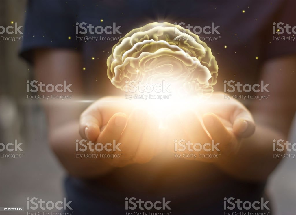 Palm care and protect virtual brain, innovative technology in science and medical concept stock photo