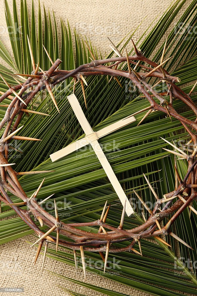 Palm Cross and Branches with Crown of Thorns stock photo