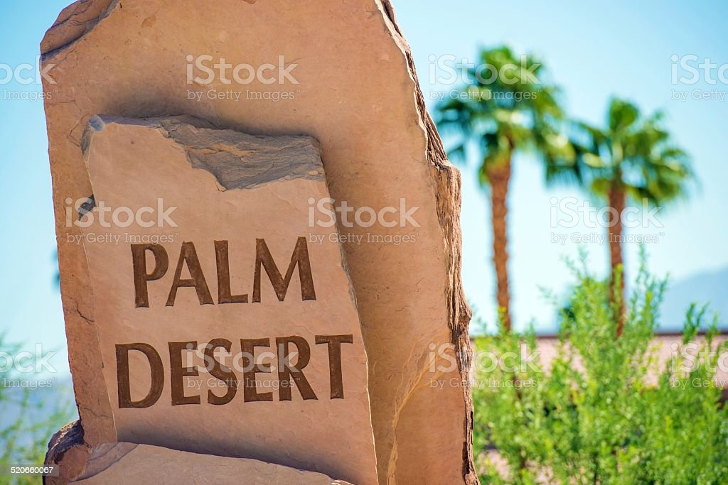 Palm Desert Stone Sign stock photo