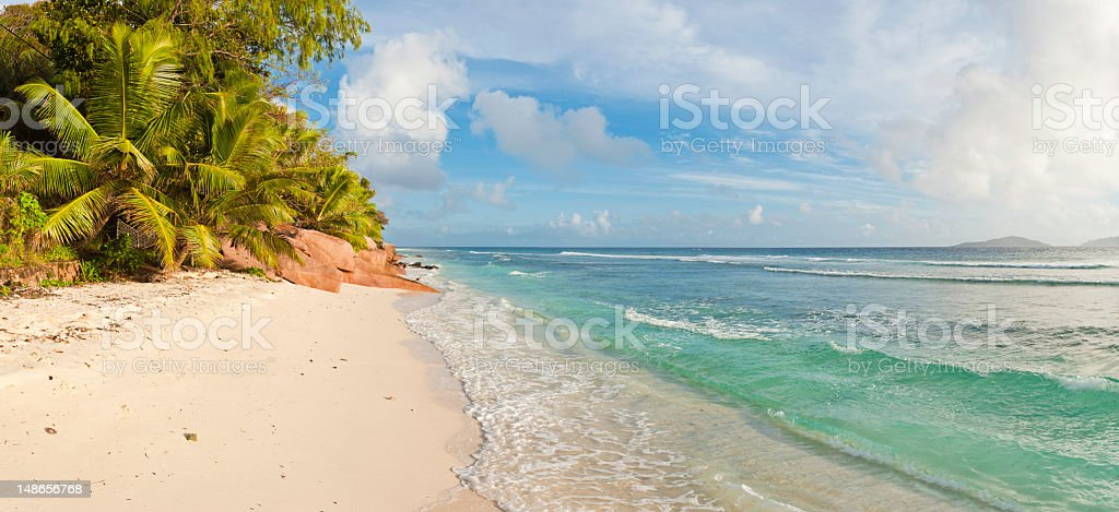 Palm fringed beach idyllic tropical island blue ocean panorama Seychelles royalty-free stock photo