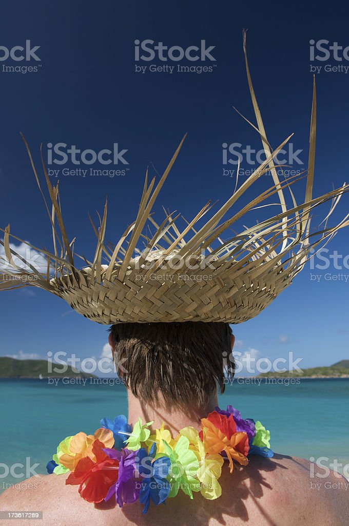 Palm Frond Hat and Lei royalty-free stock photo