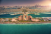 Panoramic view of Dubai from Palm Island