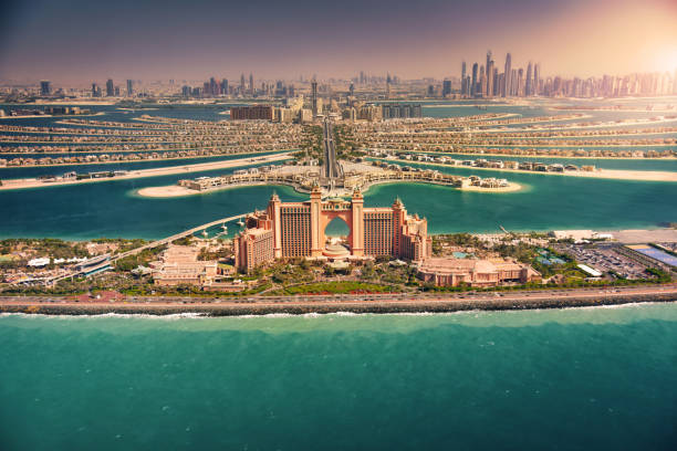 Palm Island at sunset, Dubai Panoramic view of Dubai from Palm Island burj khalifa stock pictures, royalty-free photos & images