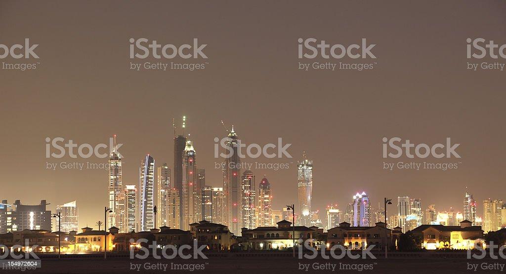 Palm Jumeirah at night. Dubai stock photo