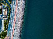 Palm Jumeirah Boardwalk in Dubai aerial view
