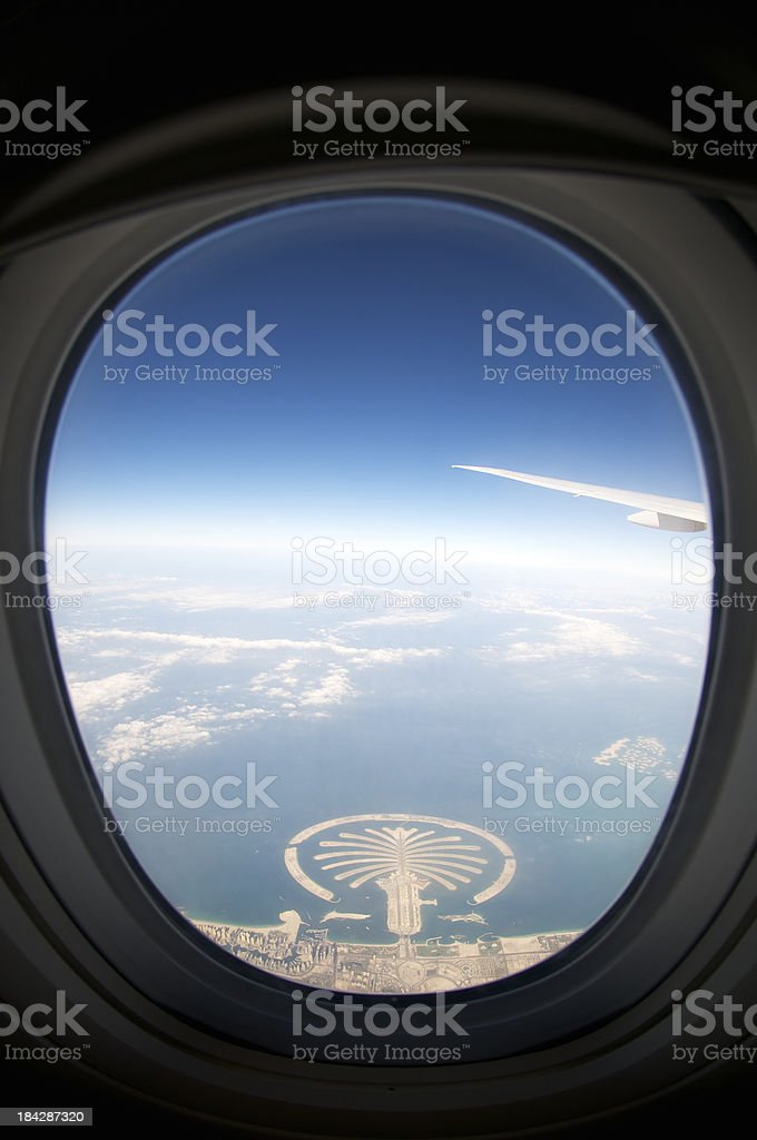 Palm Jumeirah Dubai from Airplane Window stock photo