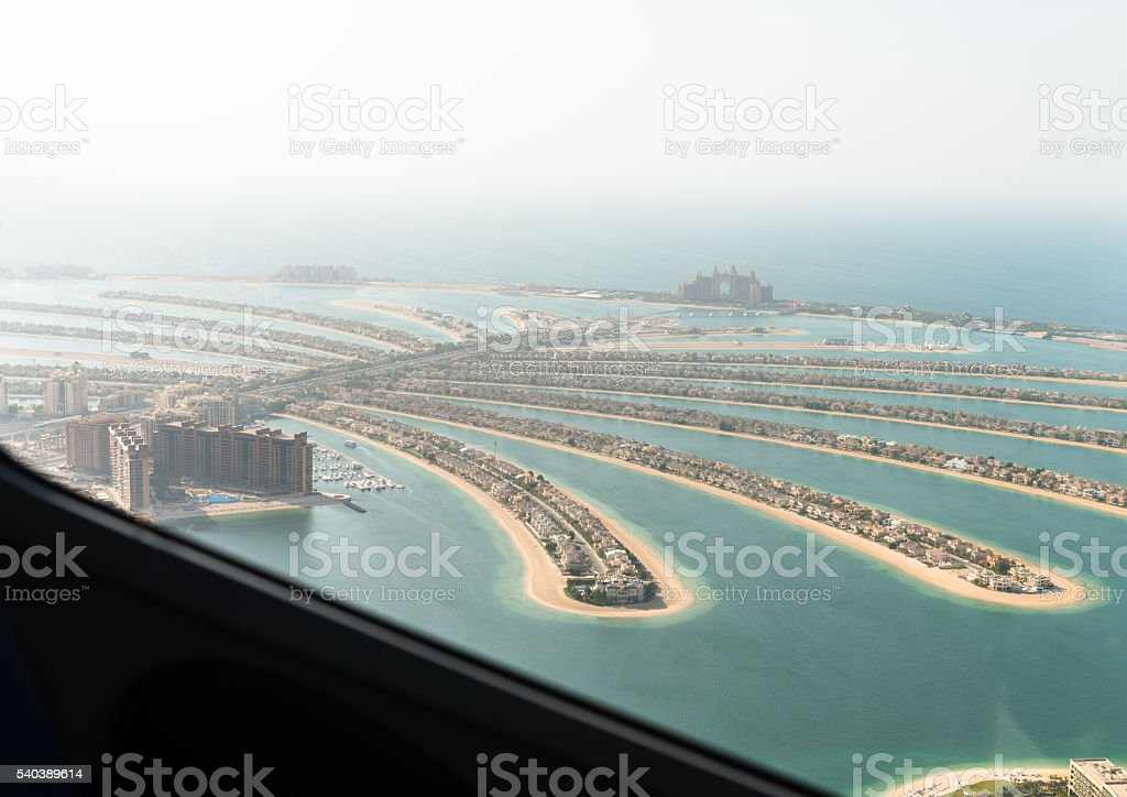Palm jumeirah in Dubai from the helicopter stock photo