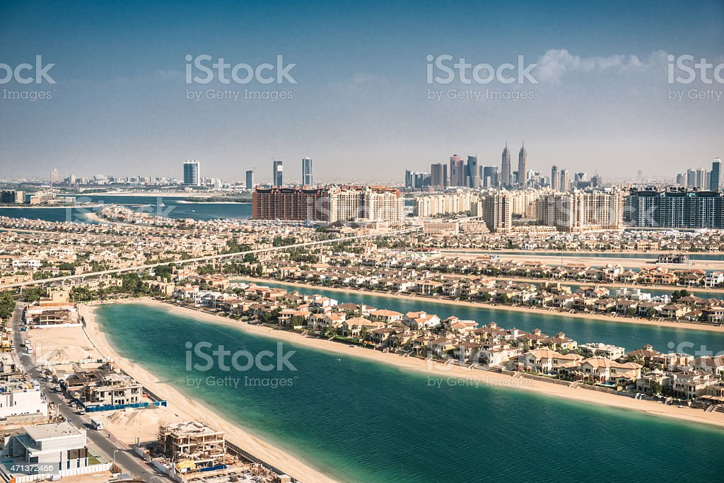 Palm jumeirah in Dubai with skyline stock photo